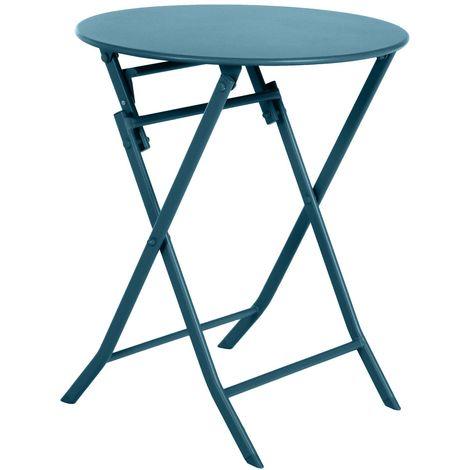 Table de jardin pliable ronde Greensboro - 2 Places - Bleu canard - Bleu foncé