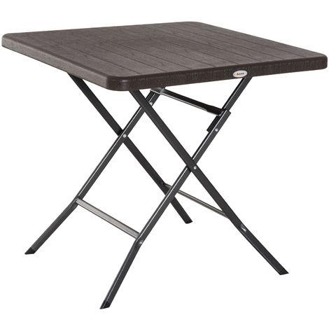 """main image of """"Table de jardin pliable table pliante carrée dim. 78L x 78l x 74H cm métal époxy HDPE imitation bois chocolat"""""""