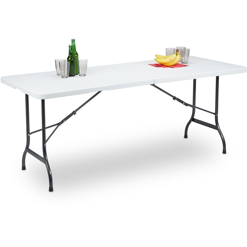 Table de Jardin Pliant Plastique Portable Valise Résistant Intempéries  Rectangle Cadre Métal 72x180x75cm Blanc