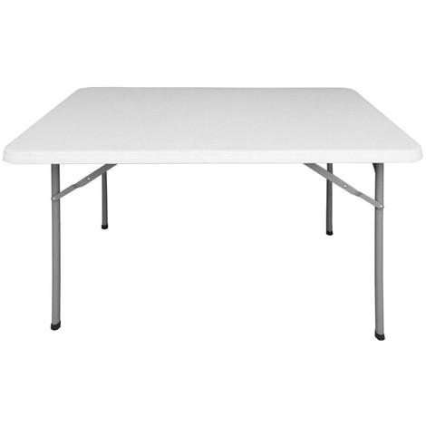 Table de jardin pliante 122cm plastique blanc - L 122 x l 75 x H 74