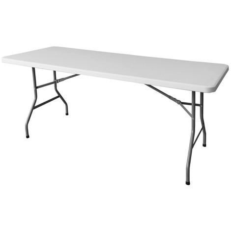 Table de jardin pliante 200cm plastique blanc - L 200 x l 90 x H 74 ...