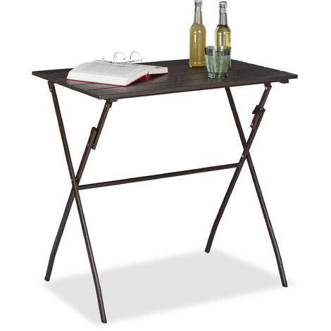 Table de jardin pliante, aspect bois, carré, plastique, métal, balcon, solide, HLP 75 x 77,5 x 48,5 cm, brun