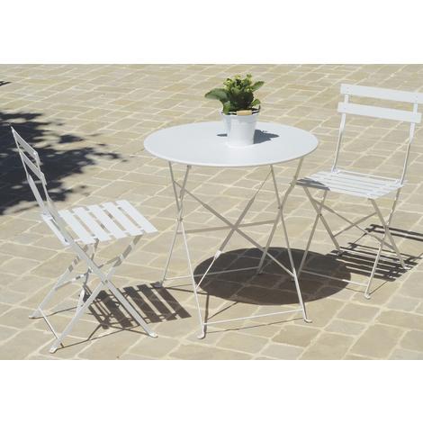 Table de jardin pliante carr?e coloris blanc (chaises non inclues) - Dim :  D.60 X 71 cm -PEGANE-