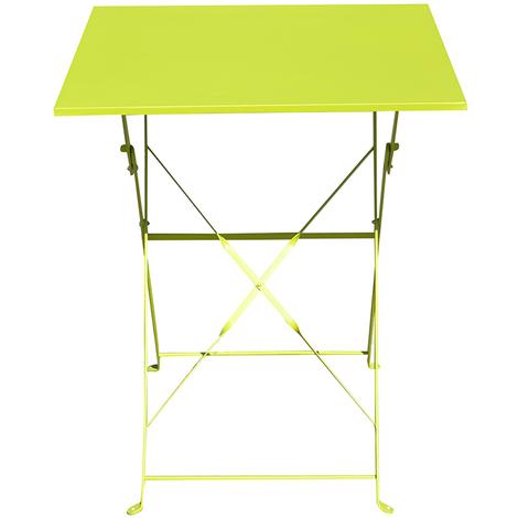 Table de jardin pliante carrée coloris vert - Dim : 60 x 60 x 71 cm -PEGANE-