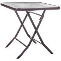 Table de jardin pliante carrée en acier marron et verre NEBRA - L 70 x l 70  x H 72