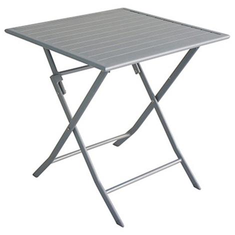 Table de jardin pliante en aluminium coloris Silver - Dim: 70 x 70 x 72 cm  -PEGANE-
