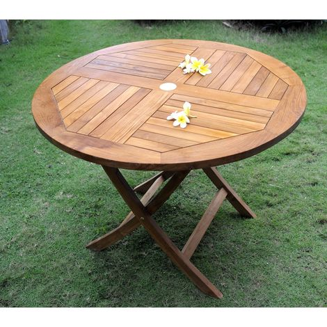 Table ronde pliante en teck huilé, 100 cm pliante - 253