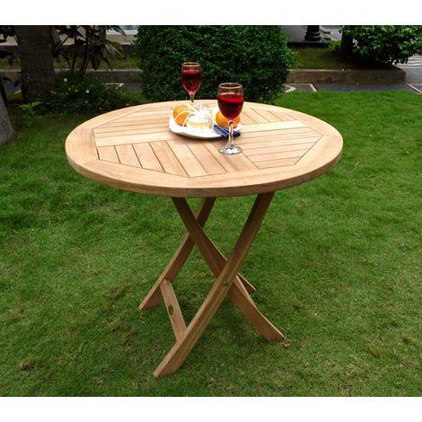 Table de jardin pliante en teck brut - Ø 70 cm ou 100 cm