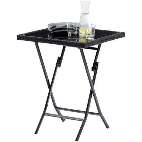 Table de Jardin pliante Kiosque Verre Wicker Noir 4 personnes