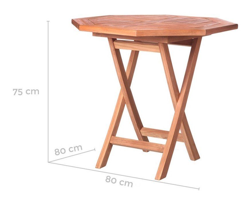 Table de jardin pliante octogonale en teck KENITA - L 80 x l 80 x H ...