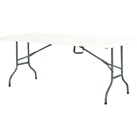 Table De Jardin Pliante Premium 183Cm Plateau Uni, Blanc