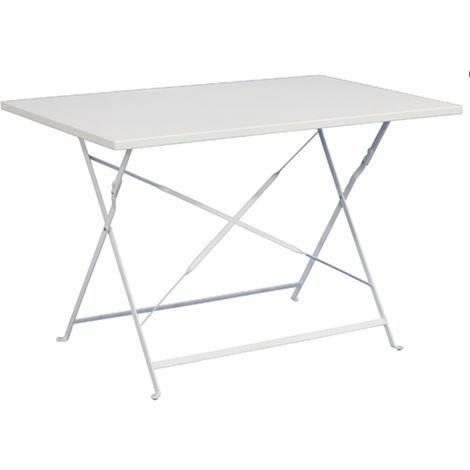 Table de jardin pliante rectangulaire coloris blanc - Dim : 110 x 70 ...