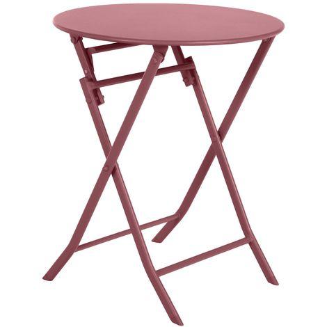 Table de jardin pliante ronde Greensboro - 2 Places - Rouge marsala - Rouge