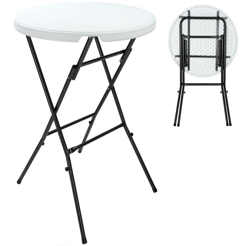 Table de jardin pliante - Table bistrot - Blanc - Ronde d\'appoint 110x80cm  metal