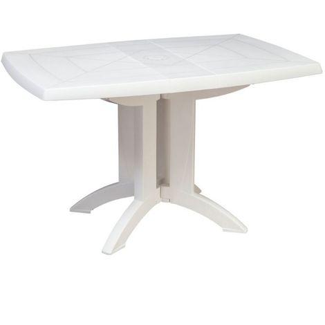Table de jardin pliante Vega GROSFILLEX - Blanc - Extérieur - Résistant à la chaleur - Blanc