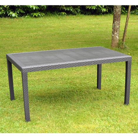 Table de jardin Prince en résine tressée gris anthracite de 1.50 m.