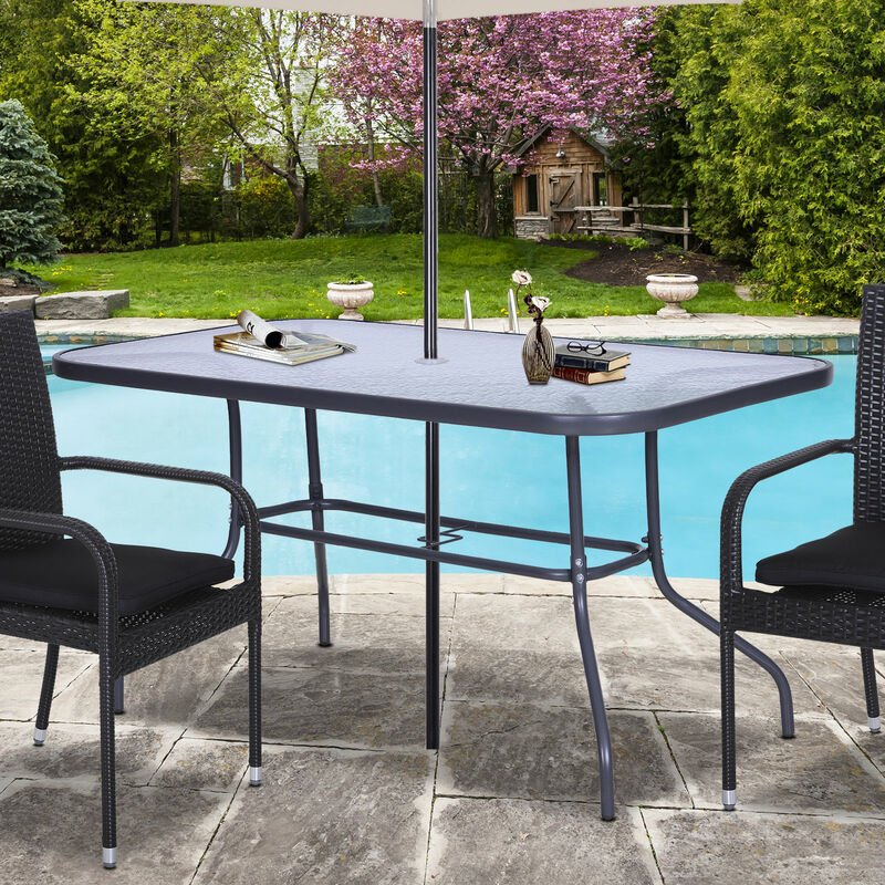 Table de jardin rectangulaire dim. 140L X 80l x 70H cm métal époxy gris plateau verre trempé