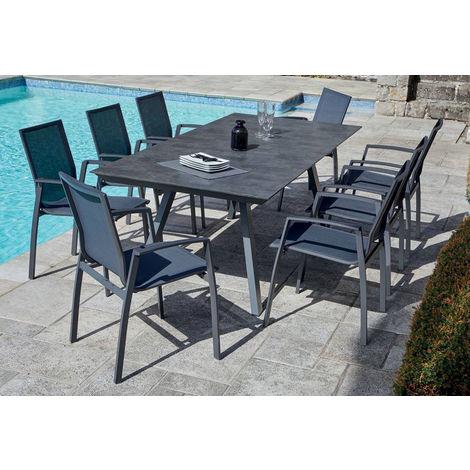 Table de jardin rectangulaire en aluminium, anthracite/ardoise - Dim : 200  x100 x 74cm -PEGANE-