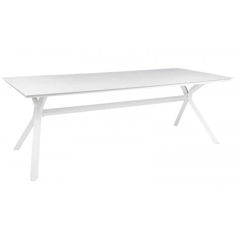 Table de jardin rectangulaire en aluminium blanc - Dim : 220 x 90 x ...