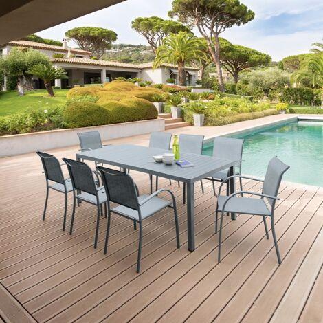 Table de jardin rectangulaire en aluminum Piazza - 8 Personnes - Gris quartz