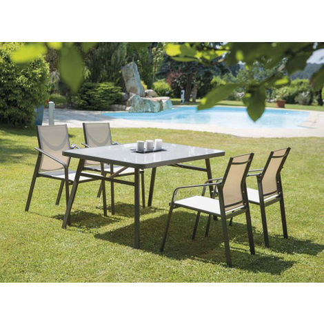 Table de jardin rectangulaire en metal coloris noisette - Dim : 150 x 90 x  76cm -PEGANE-