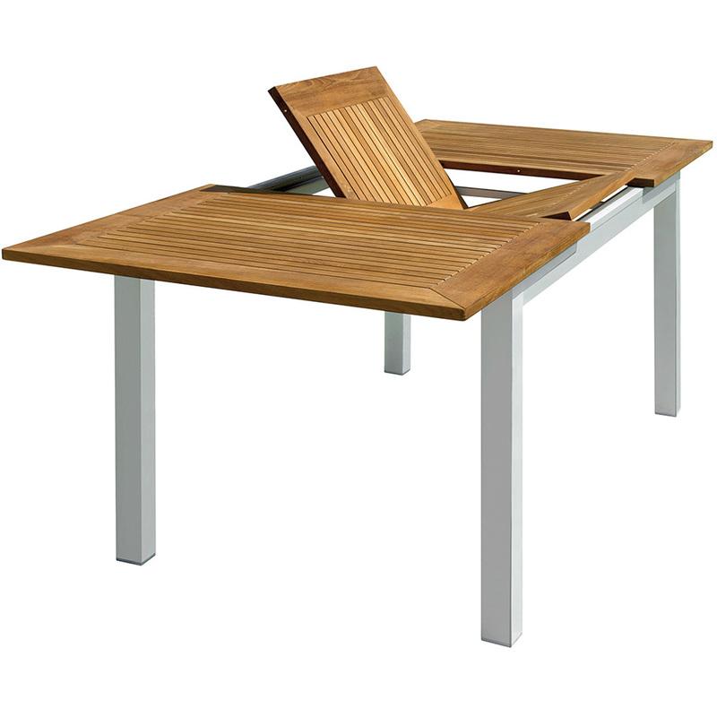 Pegane - Table de jardin rectangulaire et extensible en aluminium et bois teck - Dim : L 150/210 x P 90 x H 75 cm