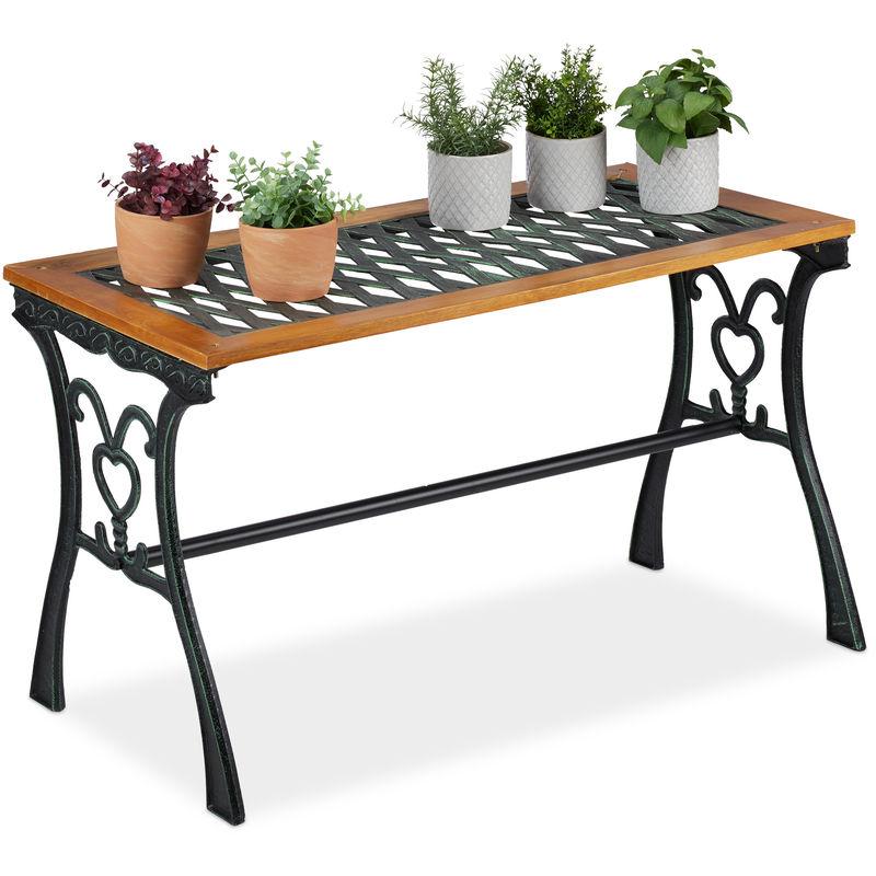 Table de jardin rectangulaire, extérieur, vintage, bois et fonte de fer, HlP 58x98x47 cm, balcon, nature-noire
