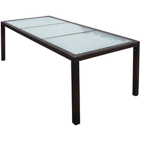 Table de jardin Résine tressée 190 x 90 x 75 cm Marron - 44068