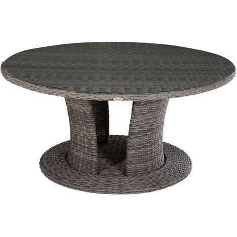 Table de jardin résine tressée Mooréa - 8 Personnes - Gris terre d'ombre - Gris