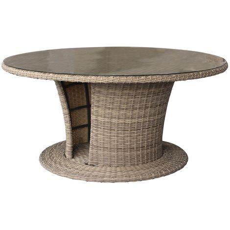 Table de jardin résine tressée Mooréa - 8 Personnes - Marron naturel - Marron