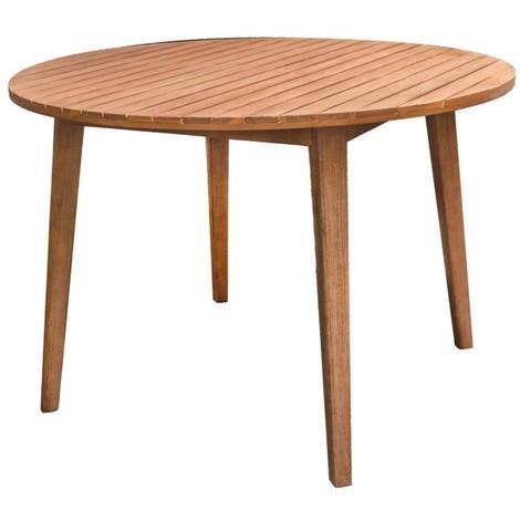 Table de jardin ronde 110cm en bois d\'acacia MURCIA - L 110 x l 110 x H 75