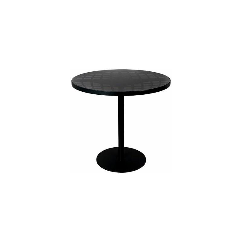 Table de jardin ronde 80x76 cm en verre et aluminium noir