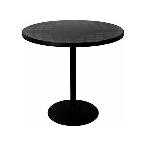 Table de jardin ronde 80x76 cm en verre et aluminium noir - 1318543