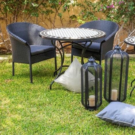 Table de jardin ronde 90cm plateau céramique et structure fer noir DERIO -  L 90 x l 90 x H 75