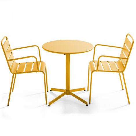 Table de jardin ronde bistrot rabattable en métal ⌀70cm et 2 fauteuils Palavas