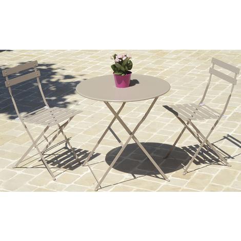 Table de jardin ronde coloris taupe ( chaises non inclues ) - Dim : D.60 X  71 cm -PEGANE-
