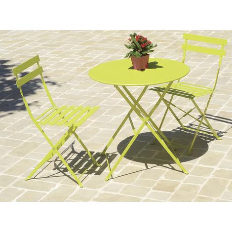Table de jardin ronde coloris vert en métal ( chaises non inclues ) - Dim :  D.60 X 71 cm -PEGANE-