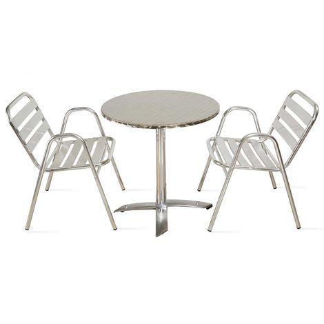 Table de jardin ronde en aluminium 2 places - 103038