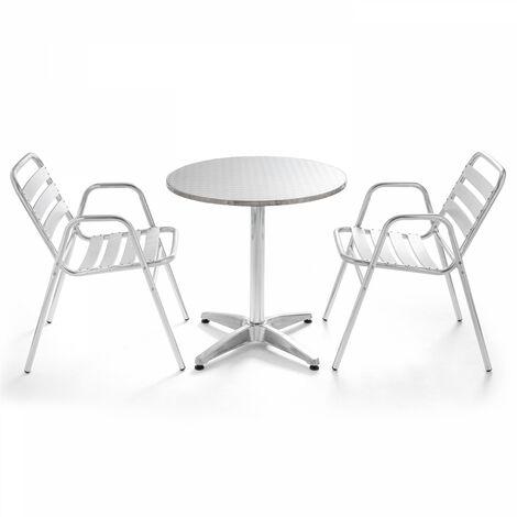 Table de jardin ronde en aluminium 2 places - Gris