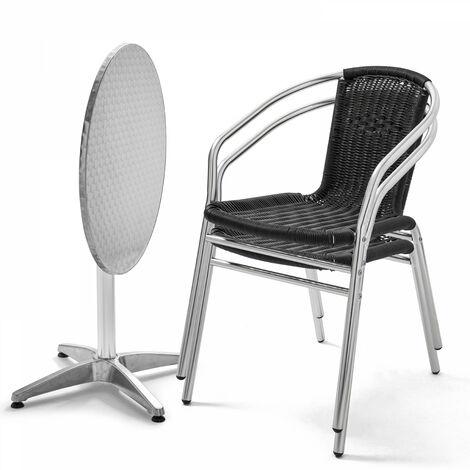 Table de jardin ronde en aluminium et 2 fauteuils Covent Garden - Noir - Noir