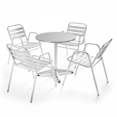 Table de jardin ronde en aluminium et 4 fauteuils - Gris