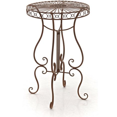 Table de jardin ronde en fer forgé SHIVA antique/marron ...