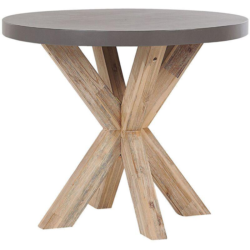 Beliani - Table de jardin ronde en fibre-ciment gris et bois ø 90 cm OLBIA