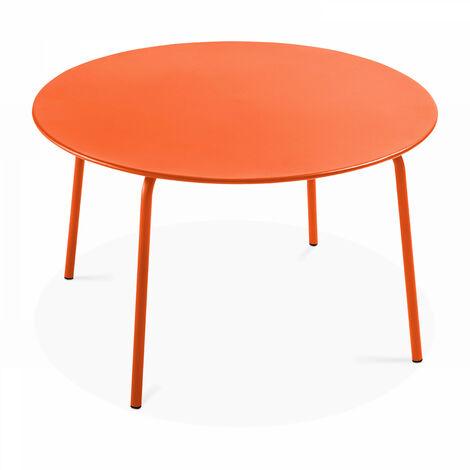 Table de jardin ronde en métal, Palavas - Orange