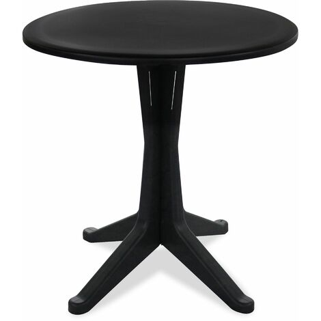Table de jardin ronde en plastique - Gris