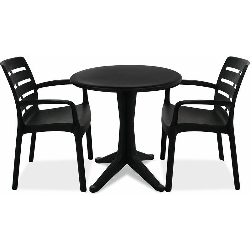 Table de jardin ronde et 4 fauteuils plastique - Gris - 104386