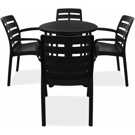 Oviala Table de Jardin Ronde en Plastique Ameublement et ...