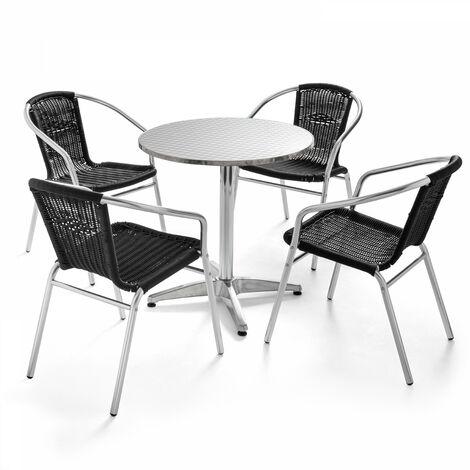 Table de jardin ronde et 4 fauteuils en aluminium et résine Camden - Noir