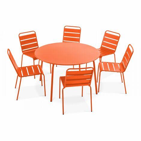 Table de jardin ronde et 6 chaises en métal