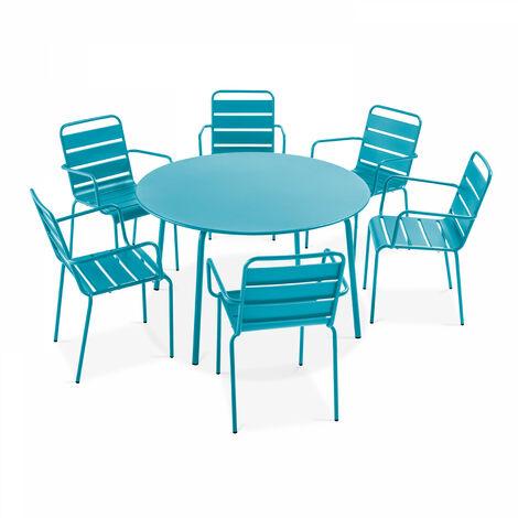 Table de jardin ronde et 6 fauteuils en acier, Palavas